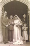 The Committment, April 1, 1944. Best man Alan Jarvis, Linda's father Fred Saxby & Ann Perry.
